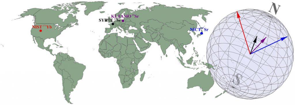 karanlık maddeyi araştırmada kullanılan, Dünyada üç kıtada bulunan atomik saatlerin konumu