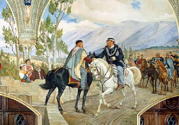 Yeni İtalya Devleti / Garibaldi 26 Ekim 1860'ta Napoli yakınlarında komutayı Kral II. Vittoria Emanuele'ye bıraktı