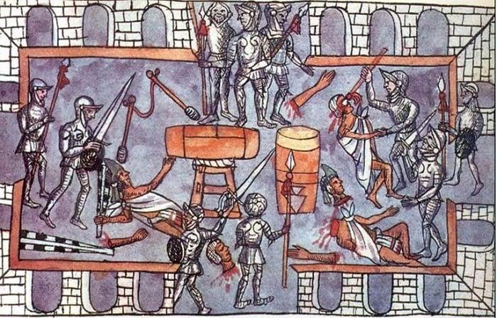 Aztek uygarlığının yıkılışı / Toxcatl ayı bayramını kutlayan Aztek soyluları, İspanyollar tarafından katledildi
