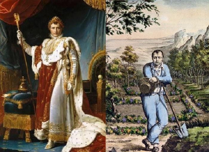 Napolyon 1804'te taç giydikten sonra (solda). Saint Helena'ya sürgün edildikten sonra (sağda).