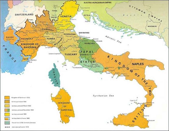 1860 yılından önce İtalya Papa, Avusturyalılar veya Napoli'deki Bourbon'ların elindeydi