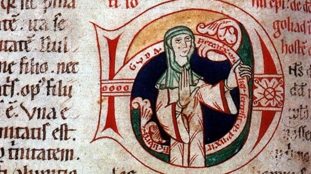 """12. yüzyıla ait bir kitapta şu yazıyor: """"Günahkâr bir kadın olan Guda bu kitabı yazıp boyadı."""" Bu bir kadın yazar tarafından imzalanan nadir bir el yazması örneğidir."""