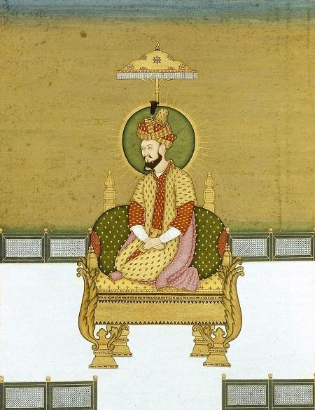 Humayun seated on throne