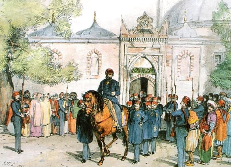 John Frederick Lewis tarafından 1838'de çizilen resimde Sultan II. Mahmud'un Cuma Selamlığı'nda