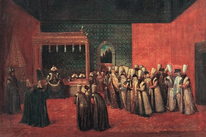 Jean Baptiste Van Mour'un 1724'te İstanbul'da çizdiği III. Ahmed'in Avrupalı elçileri kabulü