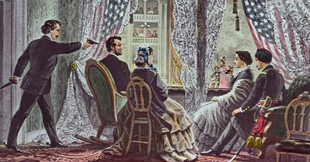 Abraham Lincoln suikastini resmeden çizimlerden biri.
