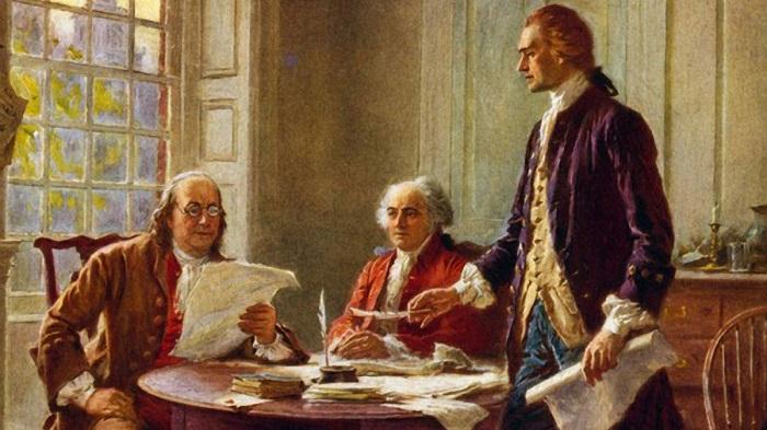 Amerikan Bağımsızlık Bildirgesi / Benjamin Franklin and John Adams meeting with Thomas Jefferson, standing, to study a draft