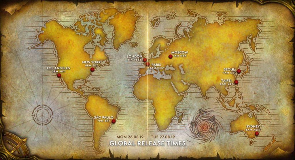 wow classic çıkış saati wow haritası