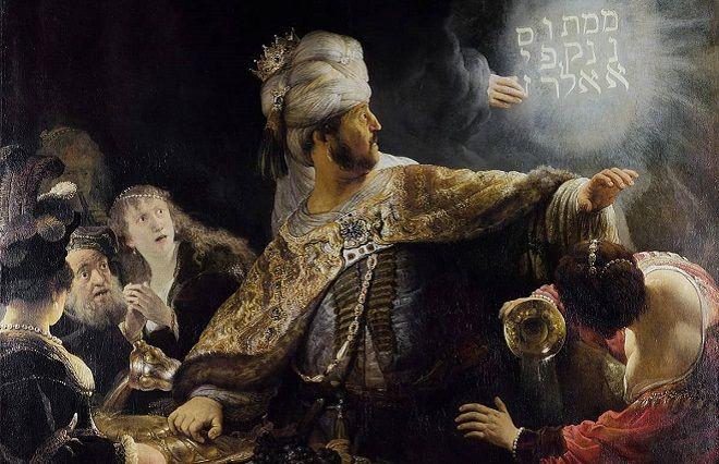 Konuklar Kudüs'teki tapınaktan alınan kutsal kupalardan içki içerken beliren bir elin duvara yazdığı yazı Babil'in düşüşünün kehanetiydi