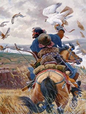 Moğolların şahinle avlanması