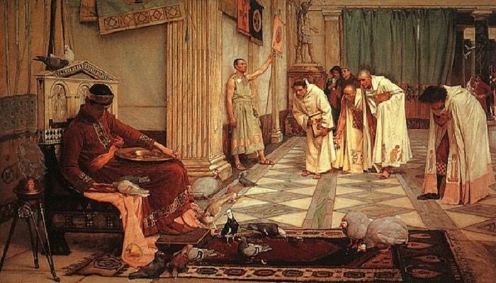 Honorious, by John William Waterhouse, 1883 / Batı Roma'nın çöküşü