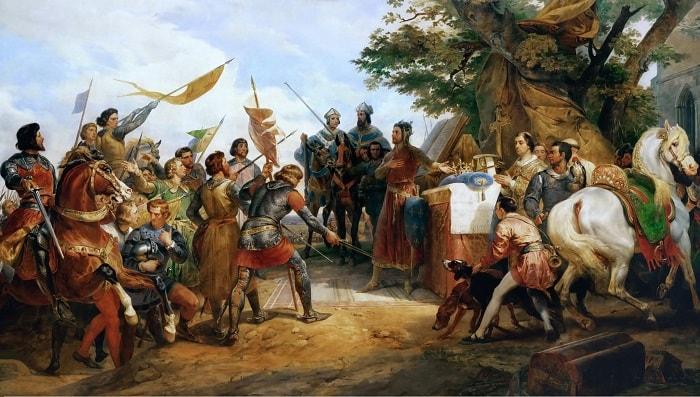 Bouvines Çarpışması başlarken Fransa Kralı Philippe August yanındaki sunağa konmuş bir tacı, savaşta en büyük kahramanlığı gösteren askere sunuyor / Magna Carta