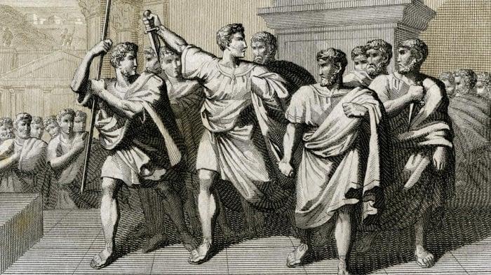 Brutus ve Cassius / Jül Sezar'ı öldürdükten sonra Brutus ve diğer komplocular.