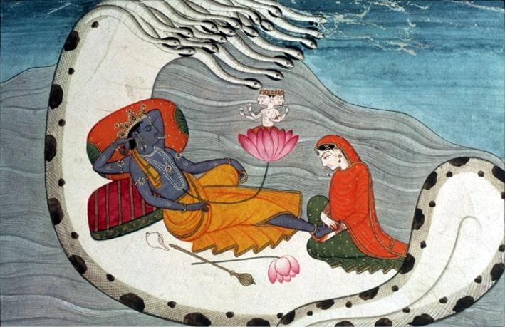 Evrensel düzenin koruyucusu tanrı Vişnu ''sonsuzluk yılanının'' kıvrımlarında uyurken / Hinduizm