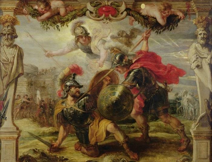 Yunanlı Akhilleus (Achilles) Truva Kralı Priamos'un oğlu Hektor'u öldürürken