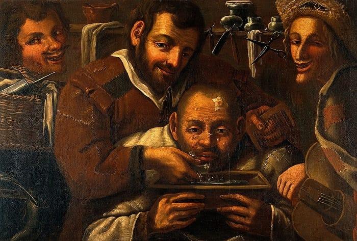 Bir erkeğin alnındaki bir çıban üzerinde çalışan berber cerrahları