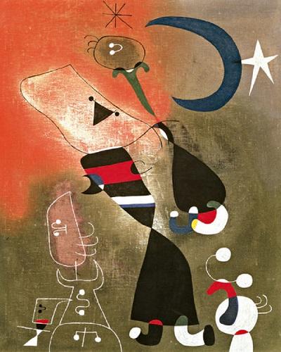 Women and Bird in the Moonlight / Jona Miro