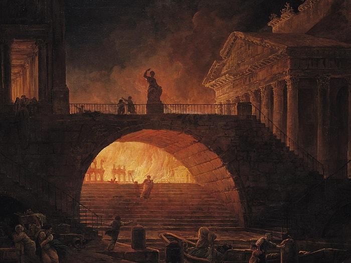 The Fire Of Rome - Hubert Robert / Roma'nın hristiyanlık dinine geçişi