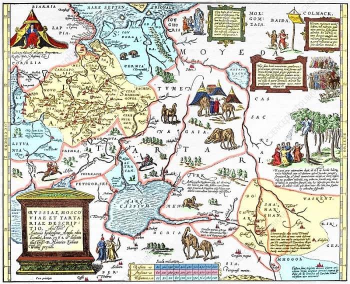 Anthony Jenkinson's Map of Russian / Bir İngiliz tarafından çizilen ilk Rusya haritası 1562'de serüvenci tüccar Anthony Jenkinson tarafından hazırlanmıştır