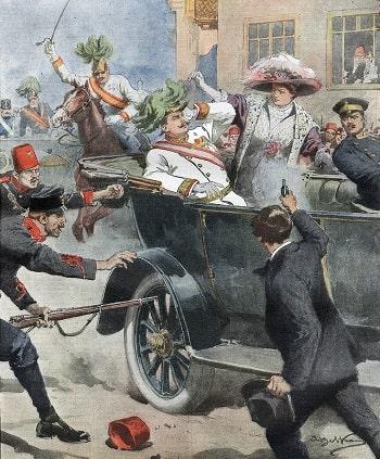 Arşidük Franz Ferdinand ile karısı için tasarlanmış, konuşmalarla ve törenlerle dolu uzun gün, 65 dakika sonra ölümle birdenbire kesilmişti.