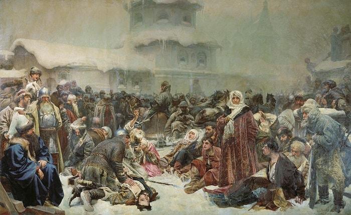 1570 yılındaki Korkunç İvan'ın Novgorod Katliam gününü anlatan bir çizim
