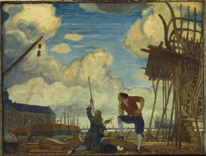 Büyük Petro donanmasını geliştirmek için gemi yapımcılığını öğrenmek amacıyla Avrupa'ya gitti