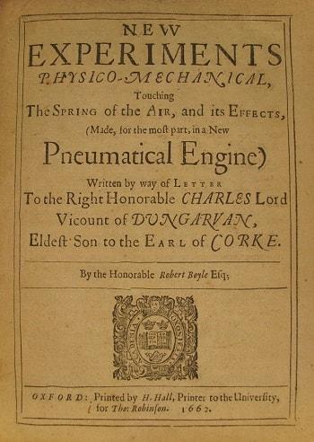 Boyle'un 1660 tarihli New Experiments (Yeni Deneyler) adlı eserinin ikinci baskısının kapak sayfası