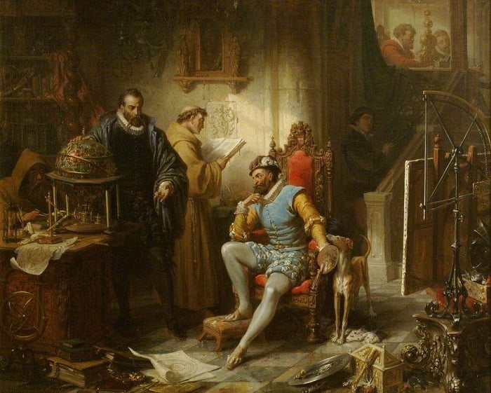 Tycho Brahe, 'Tychonic Sistemini' İmparator II. Rudolf'a Prag'da sergiliyor