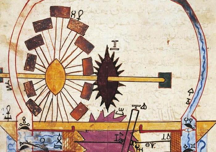 Cezeri yalnızca İslam mühendisliği için değil tüm dünya insanlığı için en büyük bilim insanlarından birisidir. Bu fotoğrafta El Cezeri'nin pistonlu pompasını gösteren el yazmasını görüyorsunuz