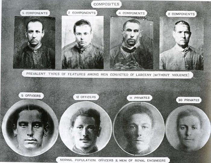 Londra'daki Millbank Hapishanesi'nde gözetimde tutulan katiller. Galton bu tür fotoğrafları belli bir suçtan hüküm giymiş kimselerin ortak yüz hatlarına sahip olup olmadığını incelemek için bir araya getiriyordu. Sonunda sahip olmadıklarına karar verdi