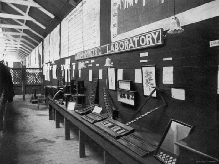 Galton'un Londra'daki 1884-1885 tarihli Uluslararası Sağlık Fuarı'nda yer alan ilk Antropometri Laboratuvarı