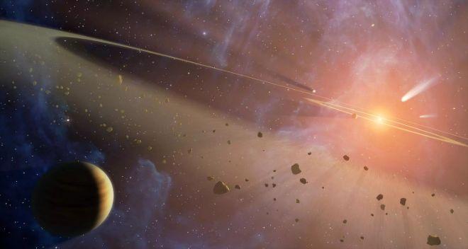 Güneş'in doğumuyla beraber uzaya saçılan malzemeler buz tutarak Kuiper Kuşağı'nı meydana getirdi