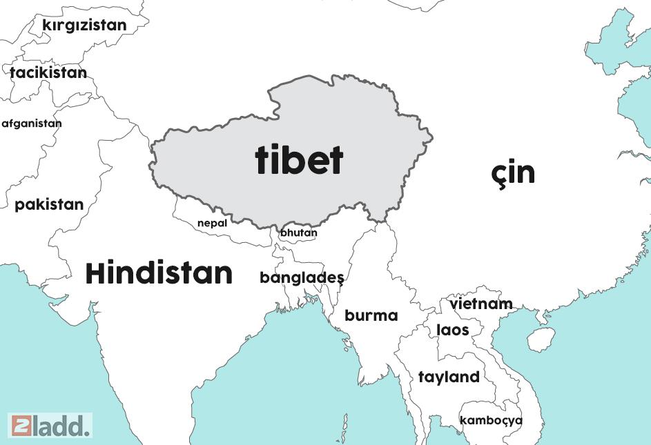 tibet dünya haritası geniş