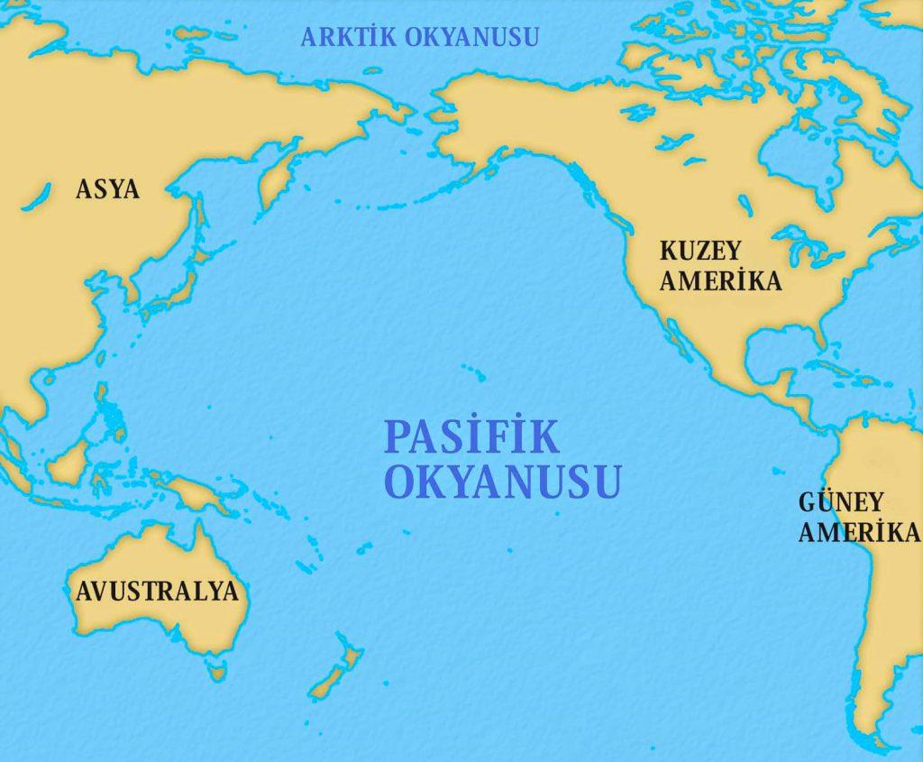 Pasifik Okyanusu (büyük okyanus) haritası