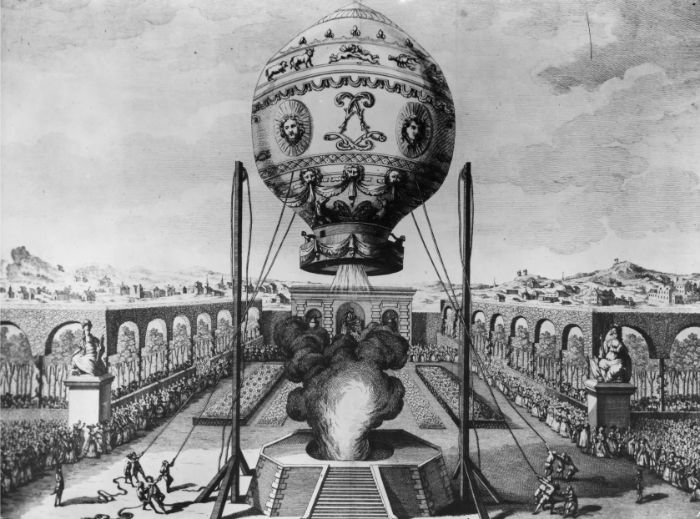 Joseph Michel Montgolfier tarafından tasarlanan sıcak hava balonunun yükselişi