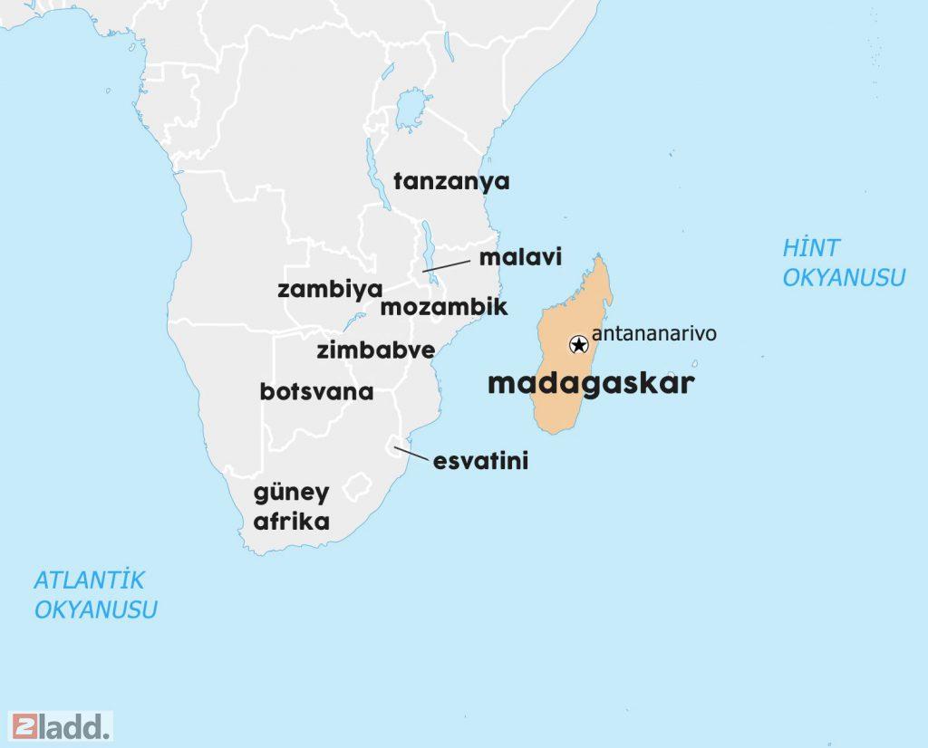 madagaskar dünya haritası