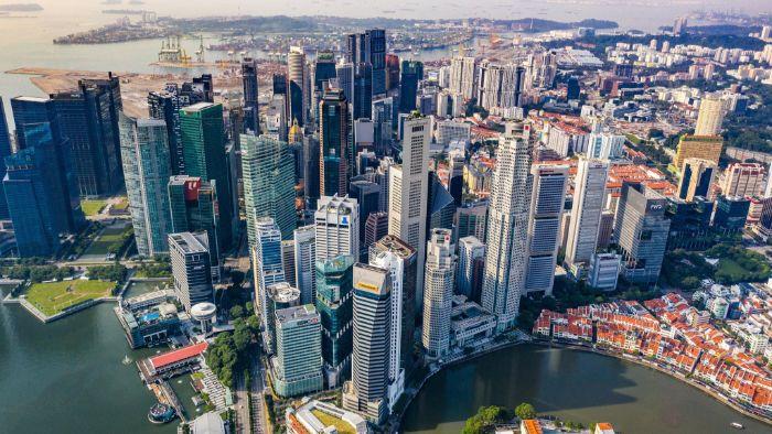 singapur şehri üstten