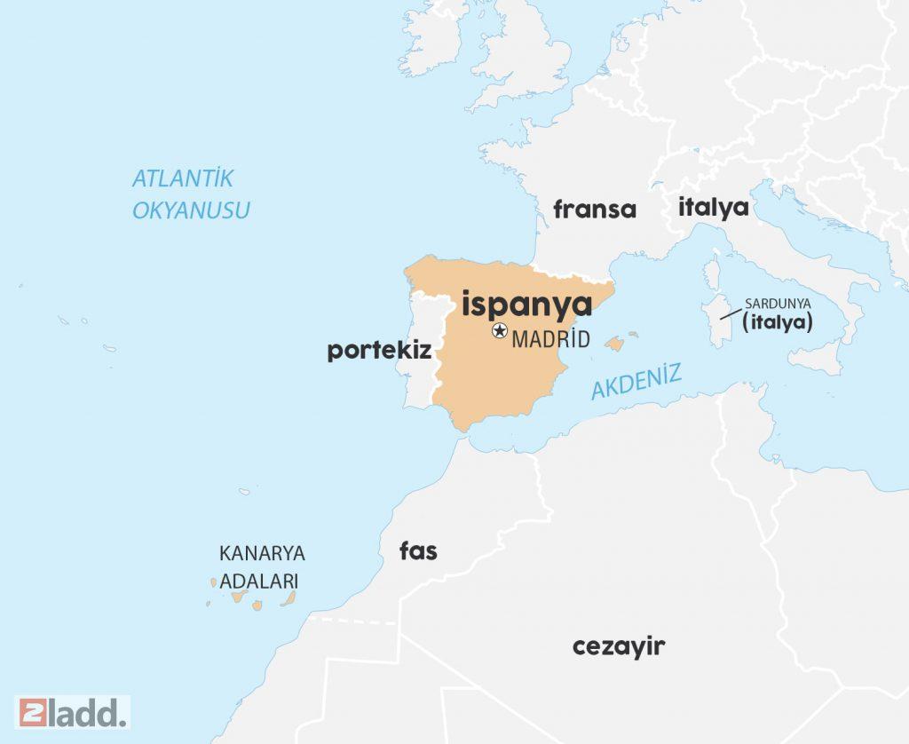 İspanya dünya haritası