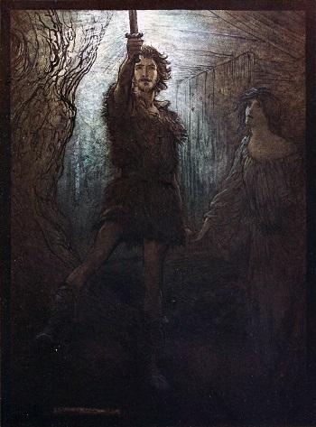 Doğrudan İskandinav tanrı Odin'in soyundan gelen kahraman Sigmund'un Arthur Rackham tarafından yapılmış resmi