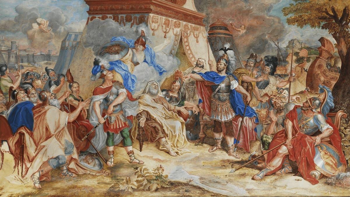 Streit des Agamemnon mit Achilles um die schöne Briseis