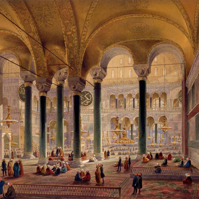 Ayasofya'nın Louis Haghe tarafından kaydedilen iç görünümünün daha sonra Chevalier Gaspard Fossati tarafından çizimi