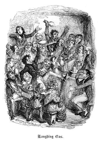 ABD ve İngiltere'de seyircilerin gülme gazı kullandığı kullandığı sergi ve konferanslar düzenleniyordu. İngiltere'de karikatürist düzenleniyordu. İngiltere'de karikatürist sanatçısı Cruikshank bu gazı kötüye kullananları hicvetti