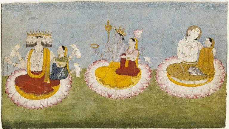 Brahma,_Vishnu_and_Shiva_seated_on_lotuses_with_their_consorts,_ca1770-min