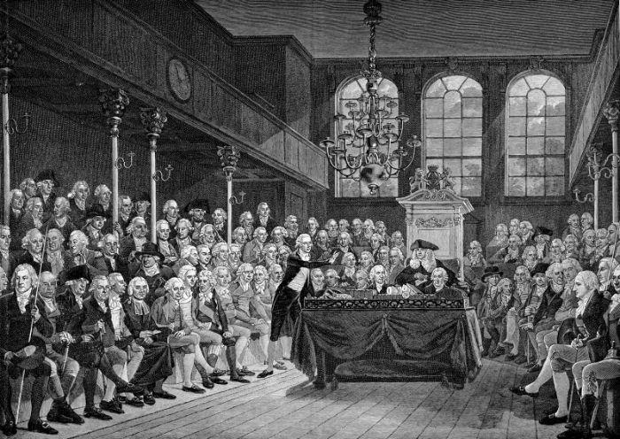 Henüz 14 yaşında üniversiteye kabul edilmesiyle bilinen eski Birleşik Krallık başbakanı Genç William Pitt ve Avam Kamarası (1793).