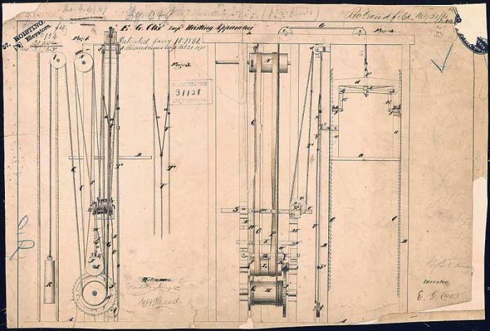 Elisha Otis asansörleri ölümcül olmaktan kurtaran tasarımını sunar.