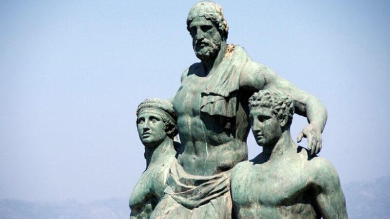 Oğullarının omzunda taşınan Rodoslu Diagoras.