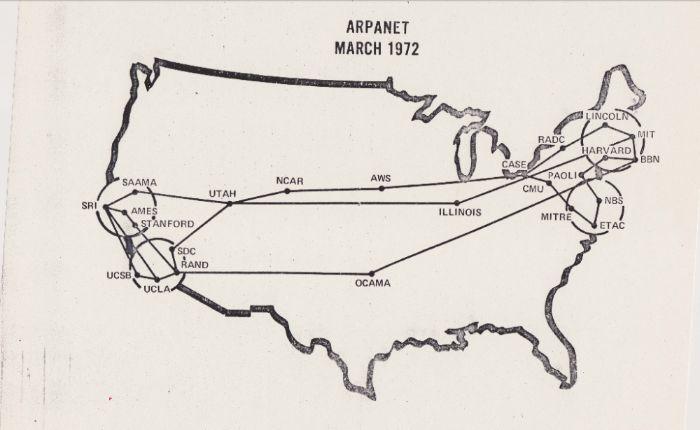 İlk internet olan ARPA ağının Mart 1972'deki haritası.