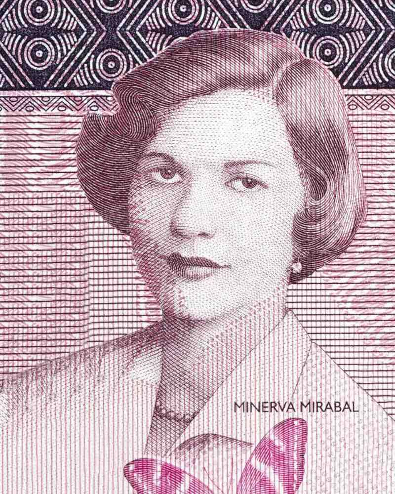 Minerva Mirabal'ın Dominik parasında resmedilmesi.