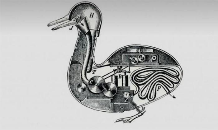 """Vaucanson'ın """"Digesting Duck"""" Otomat çalışması."""