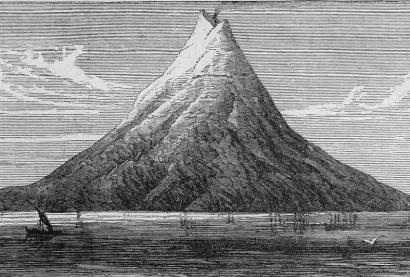 Krakatoa, 1883'teki patlamasından sonu çöktü. Volkanı önceki haliyle gösteren eski bir çizim.
